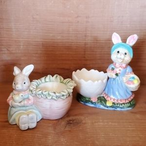 2 Easter Egg Cups with Bunny Rabbits
